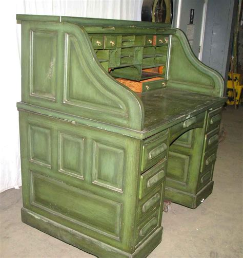 green desk l oak roll top green desk olde things