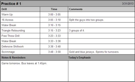 practice plan template basketball 7 best images of printable basketball practice sheets