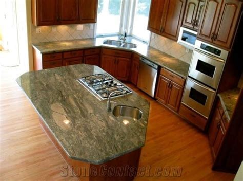 Waterfall Green Granite Countertop, Island from Canada