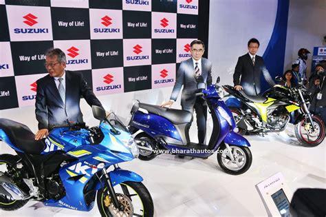 suzuki motorcycles india   auto expo unveils