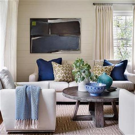 Blue Bench Living Room Sofa With Blue Pillows Transitional Living Room