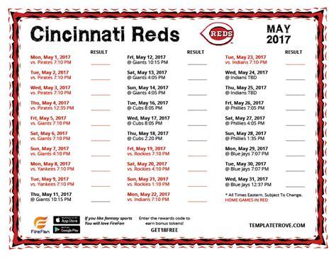 Reds Schedule 2017 Printable