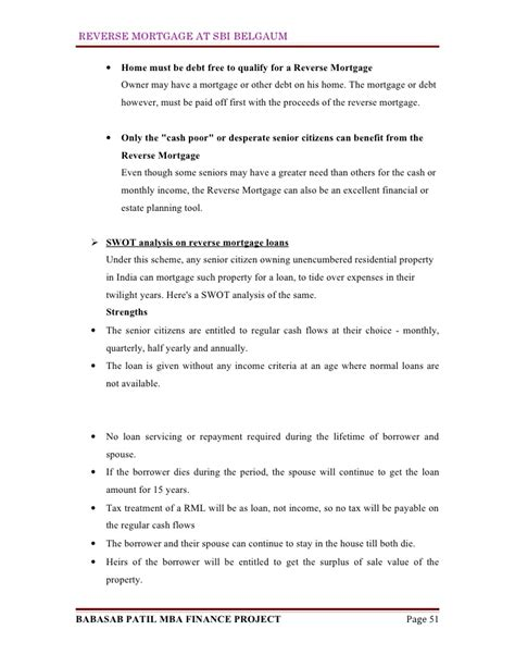 Mba Finance Project Report by Mortgage At Sbi Mba Finance Project Report