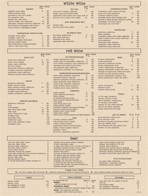 house wine and bistro beverage menu house wine bistro