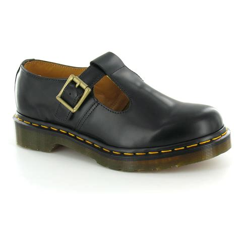dr martens polley womens leather flat t bar shoes black