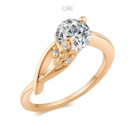 ciri wedding rings for lover 18k gold plated clear zircon