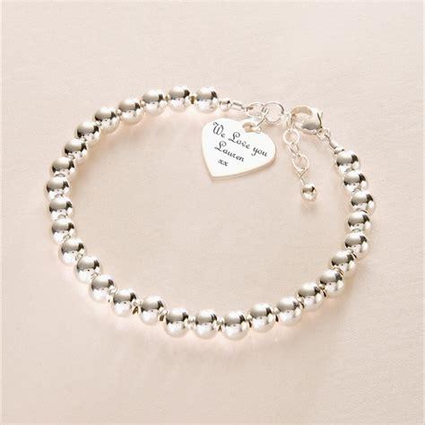 silver bead bracelet uk sterling silver bracelet with engraved charm