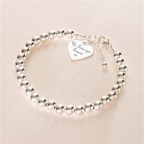 Sterling Silver Beads Bracelet with Engraved Heart Charm   Charming Engraving