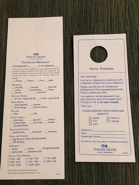 royal princess room service menu princess cruises menus cruise with gambee