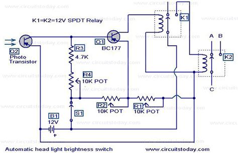automatic headlight dim switch electronic circuits and