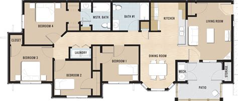 floor plans 4 bedroom 3 bath bedroom 4 bedroom 3 bath modern on bedroom intended for