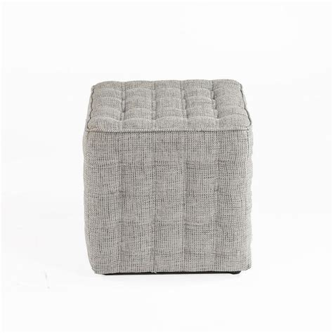 White Leather Cube Stool by Gray Cube Tufted Leather Stool