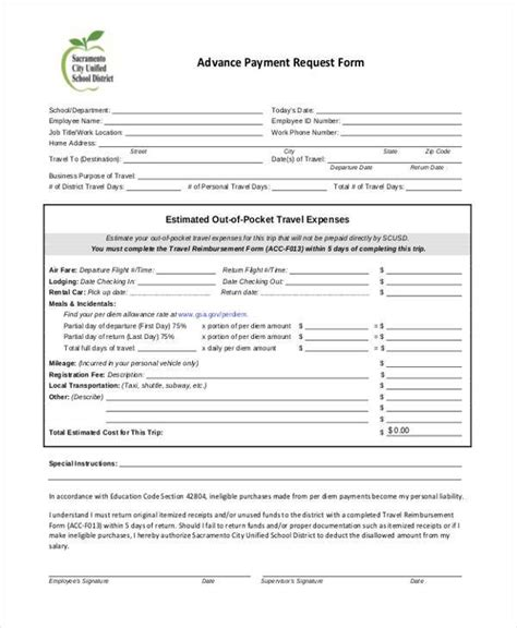 employee advance form sle employee advance request forms 7 free documents