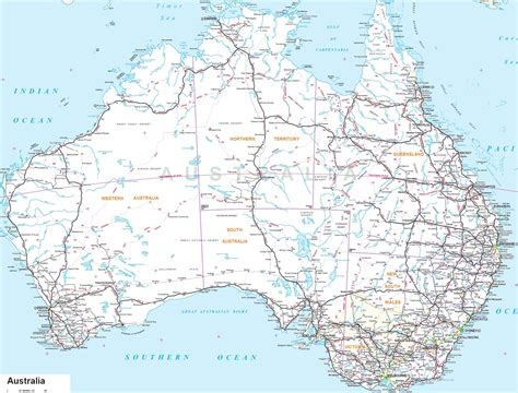Printable Road Maps Australia | australia road map australia mappery