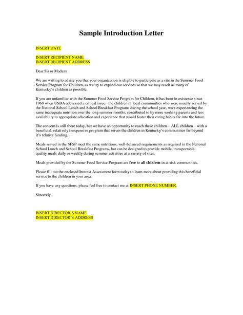 business introduction letter template business letter