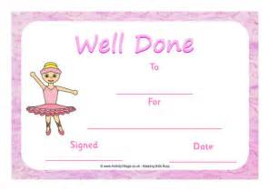 ballet certificate well done