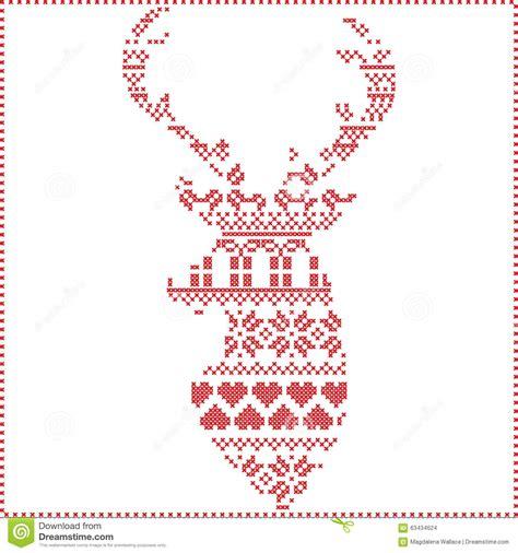 nordic christmas pattern vector scandinavian nordic winter cross stitch knitting