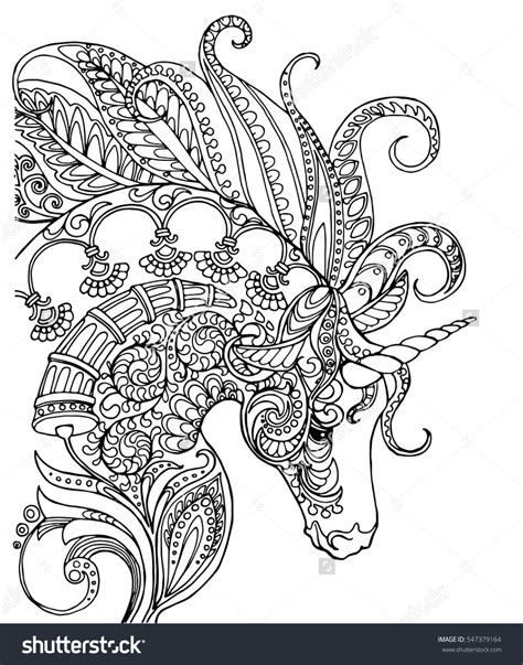 elegant zentangle patterned unicorn doodle page  adult