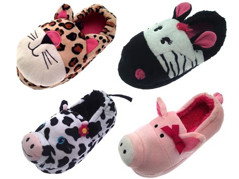 slippers size 3 3d novelty slipper boots booties plush animal