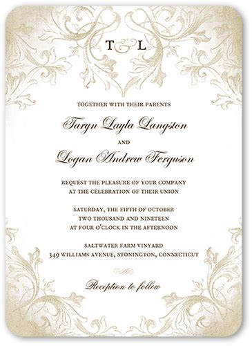 m and s wedding invitations faded scroll 5x7 wedding invitations shutterfly