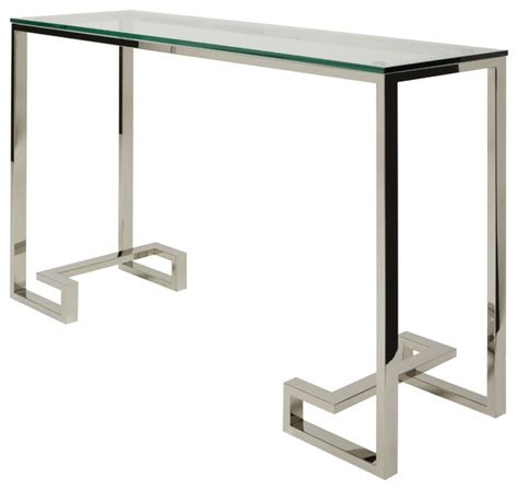Tessa Console Sofa Table In Stainless Steel By Nuevo Stainless Steel Sofa Table