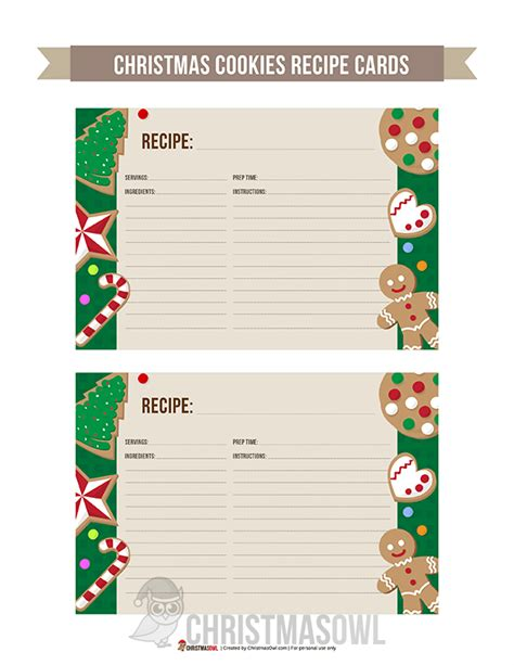 Printable Cookie Recipe Cards