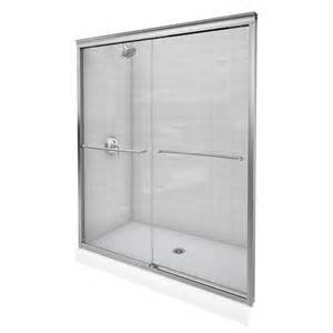kohler sliding glass shower doors shop kohler fluence 56 in to 59 in frameless brushed nickel shower door at lowes