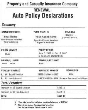 Exle Car Insurance Quotes Progressive Quotesgram Auto Insurance Declaration Page Template