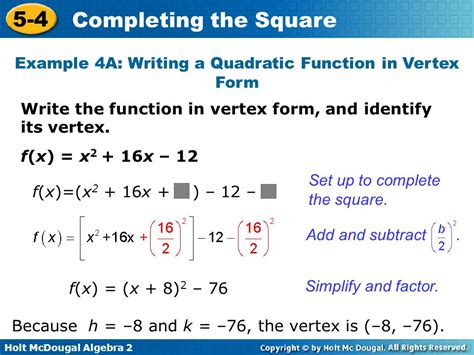5 4 completing the square warm up lesson presentation
