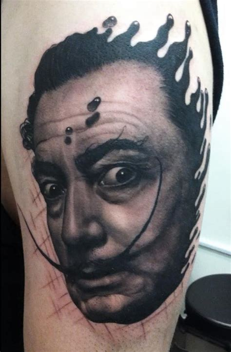 black and grey portrait tattoo techniques black and gray dali portrait tattoo by tye harris tattoonow