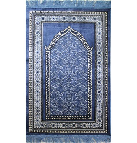 Islamic Prayer Rug by Thin Velvet Floral Islamic Prayer Rug Blue