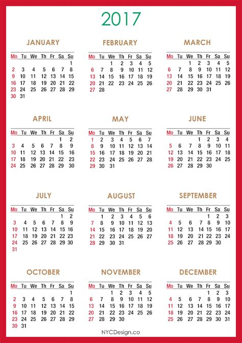 printable calendar 2017 starting monday monday through friday calendar 2017 2018 calendar printable