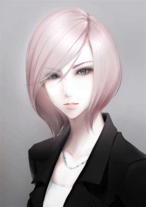 hair cutting that suits on long hair and long forehead original characters short hair gray eyes blonde anime