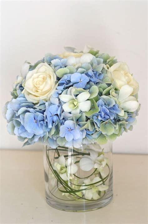 light blue flower arrangements hydrangea centerpiece wedding inspiration