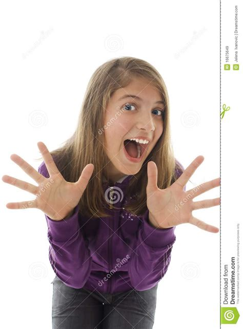 small teen teen girl with hands up portrait stock image image 16675649