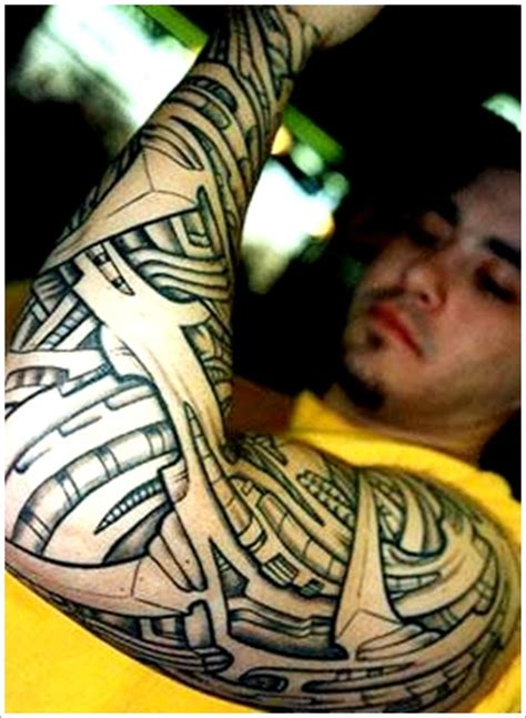 tribal biomechanical tattoo design for men biomechanical