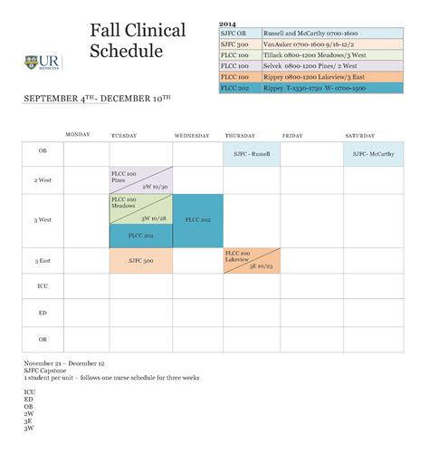 Clinical Calendar Thompson Health Gt Careers Gt Student Intern Placement