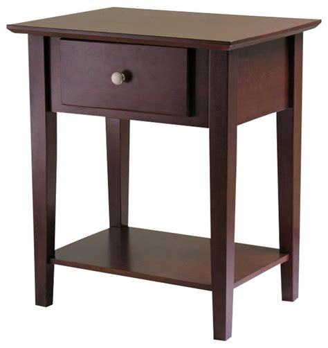 antique nightstands and bedside tables winsome shaker nightstand with drawer in antique walnut