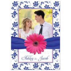 photo wedding invitation pink gerber daisy damask royal
