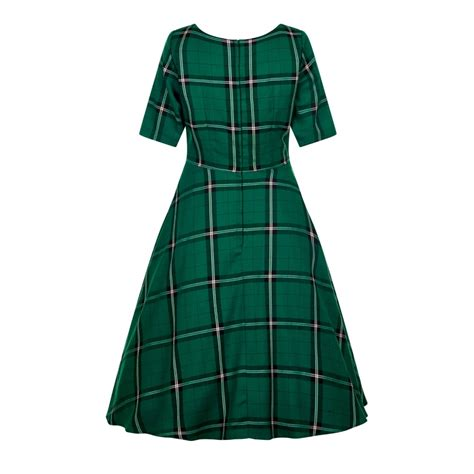 check swing collectif vintage amber evergreen check swing dress