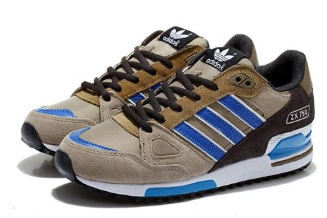 special offer adidas zx 750 retro running shoes gray brown royal blue white blue best sale