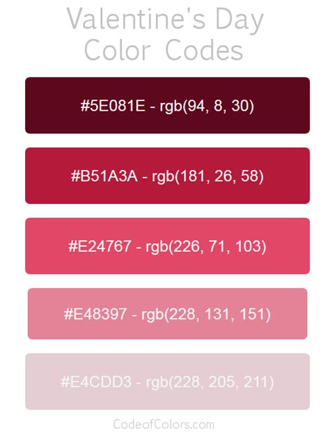 valentines day colors s day color palette hex and rgb color codes