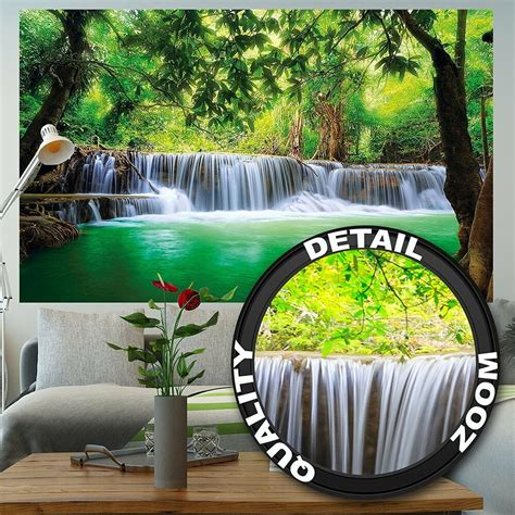 wallpaper poster waterfall nature jungle feng shui wall