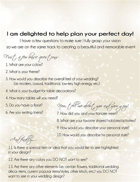 Wedding Planner Questionnaire by 25 Best Ideas About Wedding Planner Office On