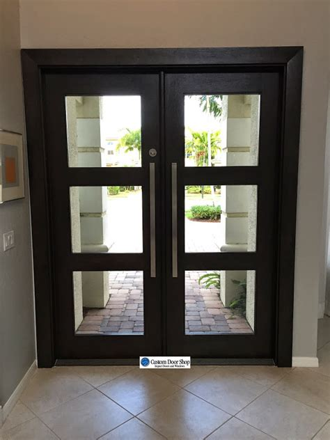 Open And Airy Front Doors Contemporary Mahogany Double Wood Doors With Glass Inserts