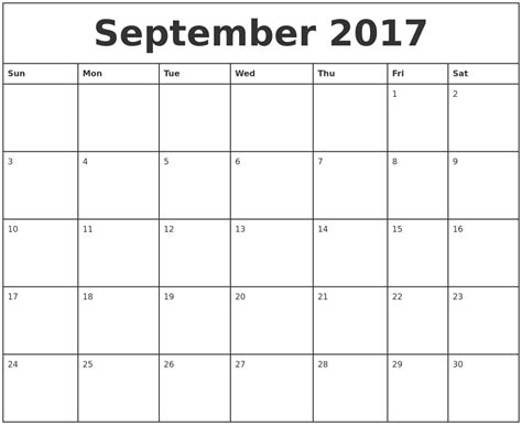 Calendar 2017 September Printable Free September 2017 Printable Calendar Template Holidays