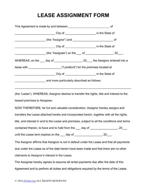 Lease Assignment Request Letter free assignment of lease form pdf word eforms free fillable forms
