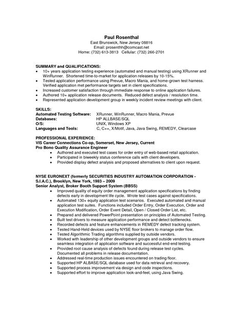 quality resume sle qa analyst resume printable planner template