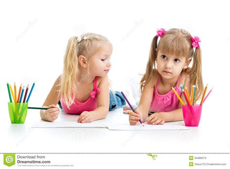 Kids Drawing Together Stock Photo Image Of Little Crayon 34489374 Kid Drawing Picture