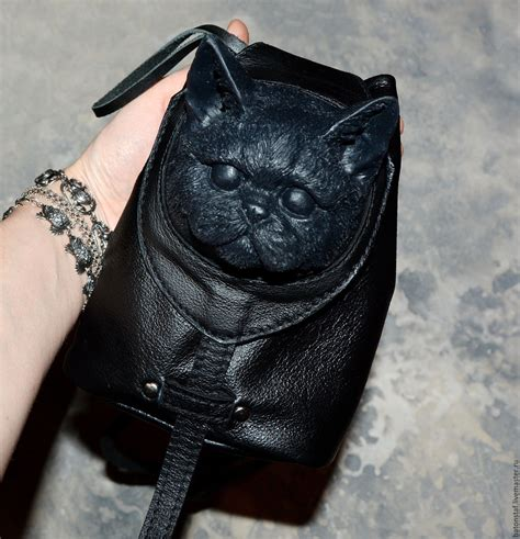 Tas Backpack Cat Black backpack leather bag cat steunk backpack shoulder